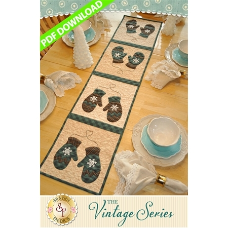 Vintage Mittens Table Runner - January - PDF Download