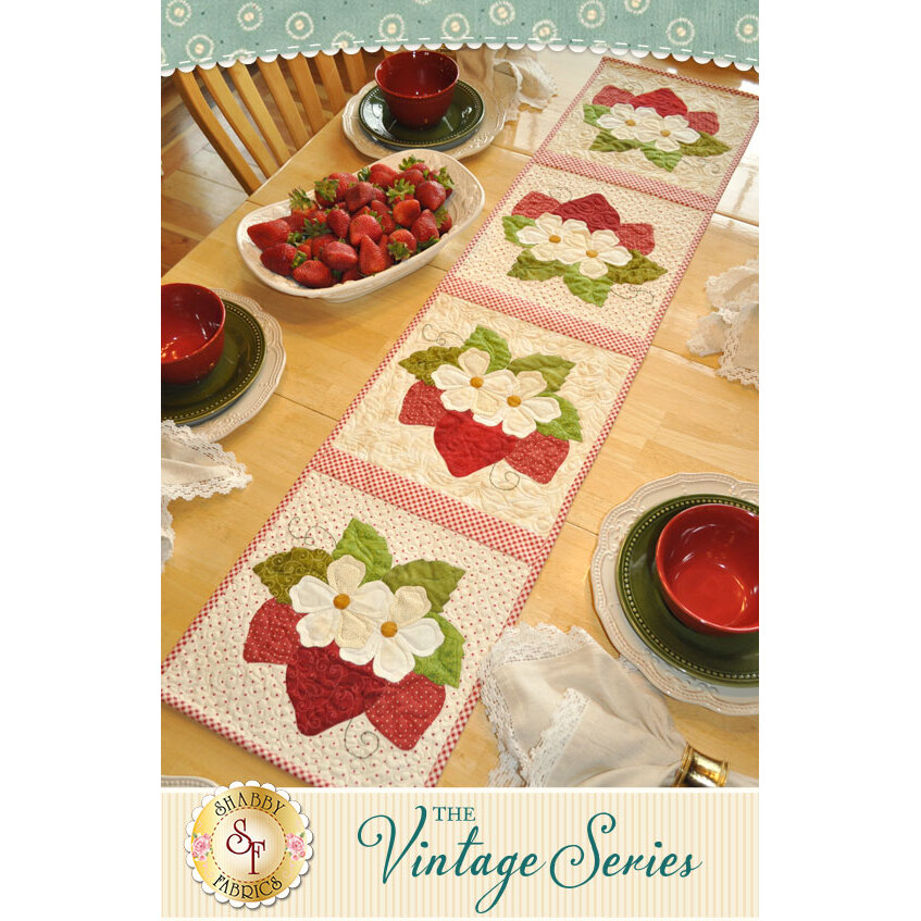 Vintage Strawberries Table Runner - June - Pattern