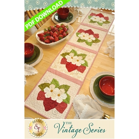 Vintage Strawberries Table Runner - June - PDF Download