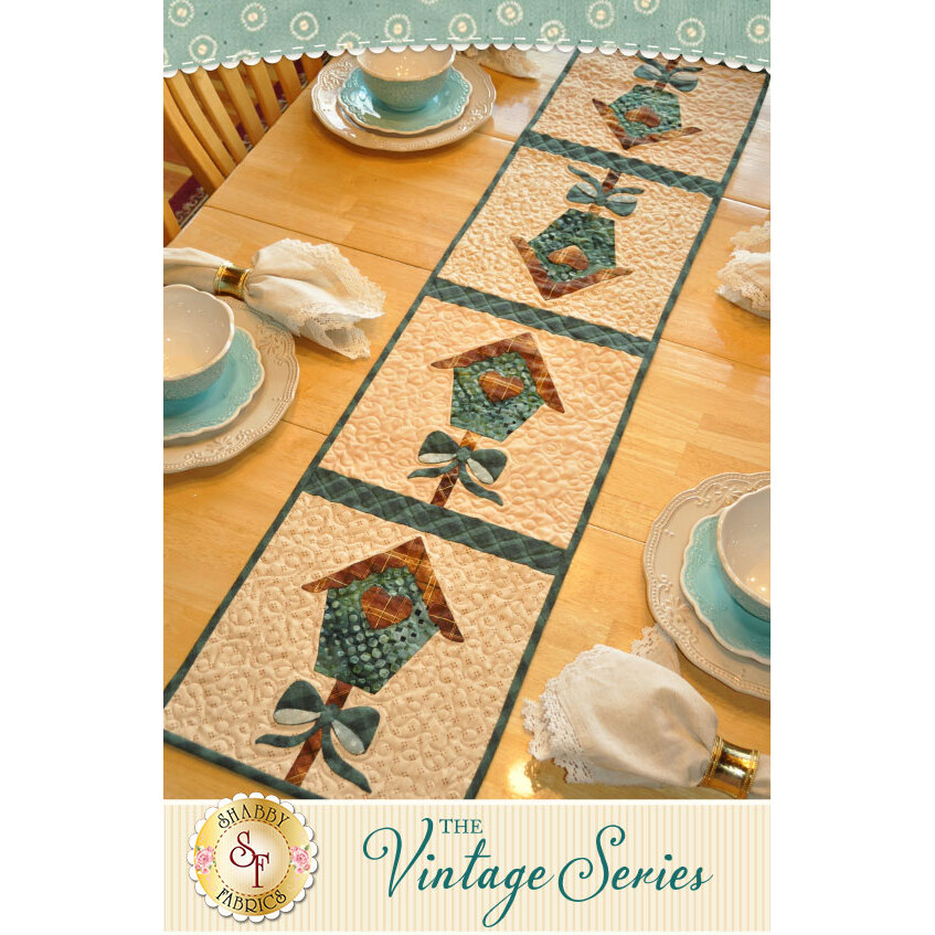 Vintage Birdhouse Table Runner - March - Traditional Kit | Shabby Fabrics