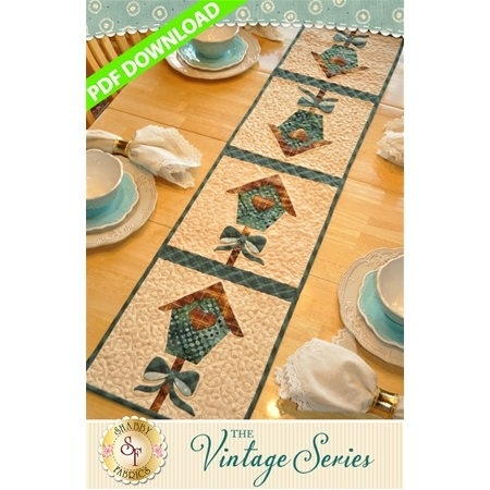 Vintage Birdhouse Table Runner - March - PDF Download