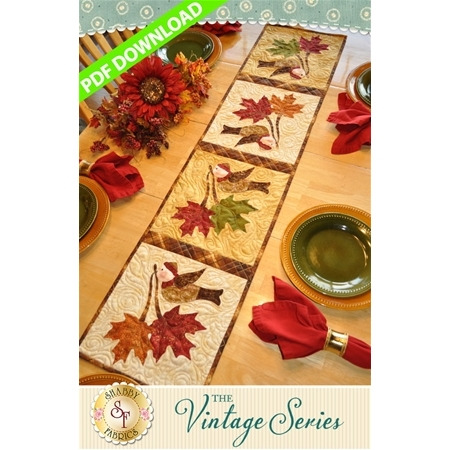 Vintage Maple Leaf Table Runner - November - PDF Download