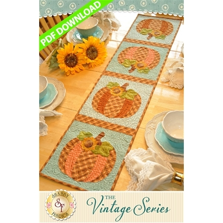 Vintage Pumpkin Table Runner - October - PDF Download