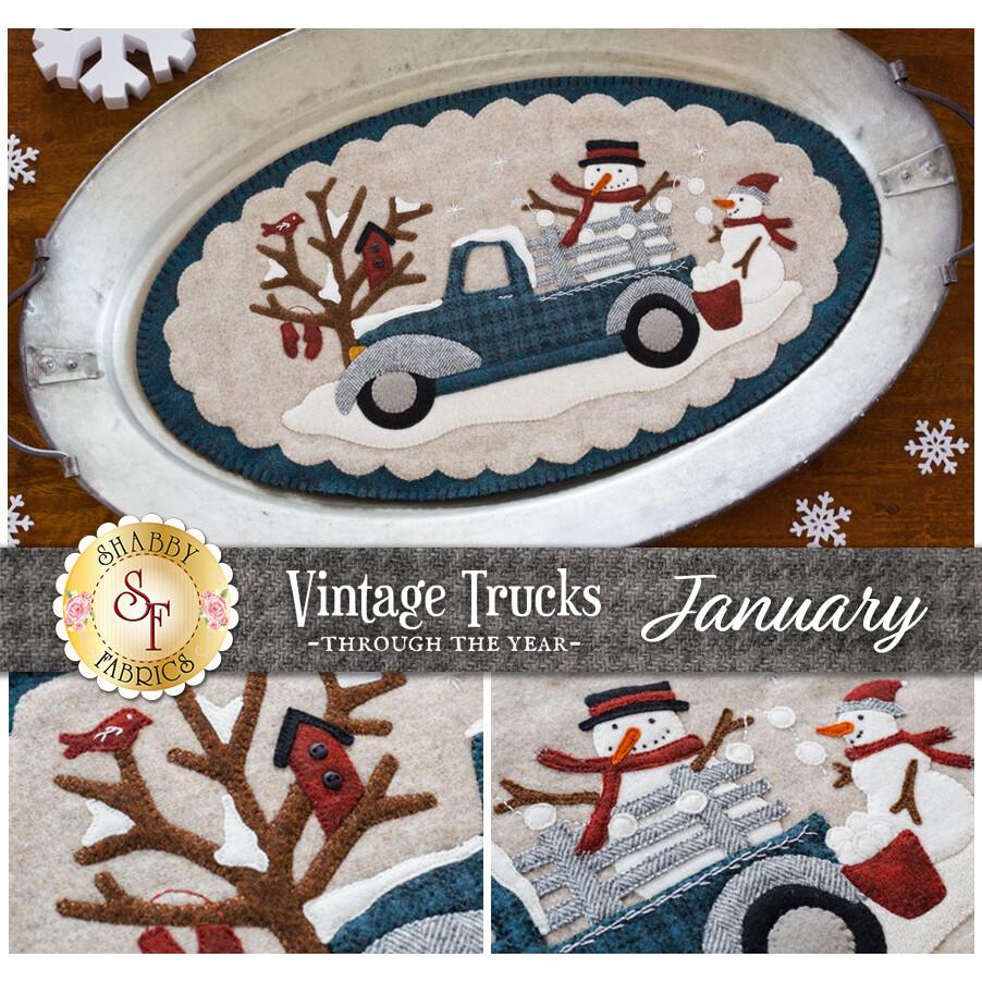 Vintage Trucks January Kit - In Wool at Shabby Fabrics