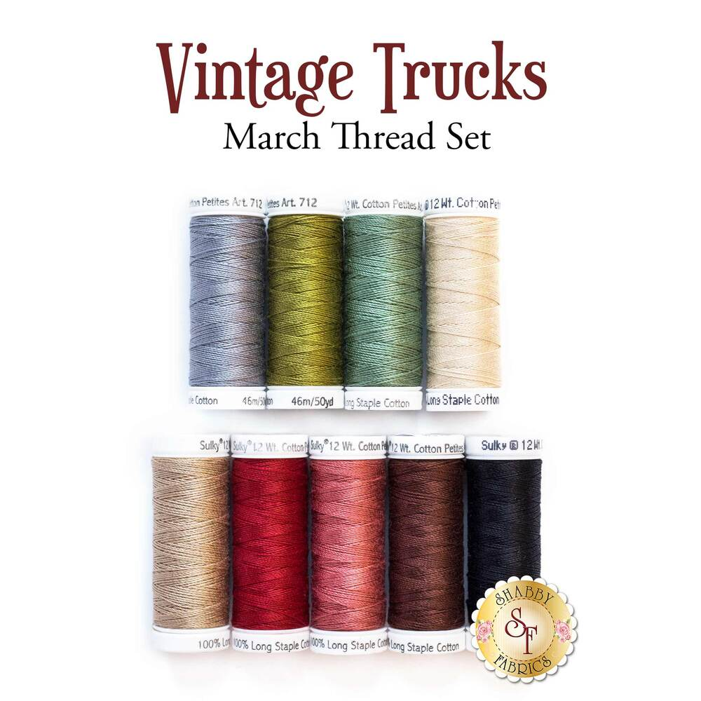 Vintage Trucks - March - 9 pc Thread Set