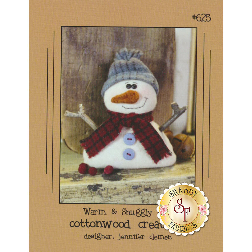 The front of the Warm & Snuggly pattern showing the finished snowman | Shabby Fabrics