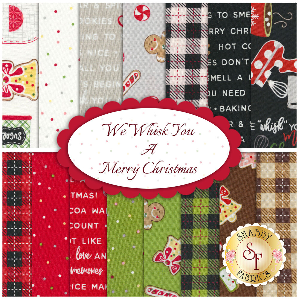 A collage of fabrics included in the We Whisk You A Merry Christmas 15 FQ Set | Shabby Fabrics