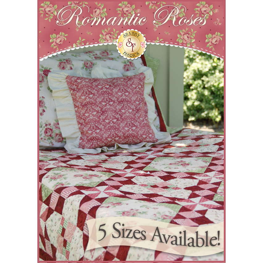 Romantic Roses Pieced Quilt Pattern - 5 SIZES INCLUDED!