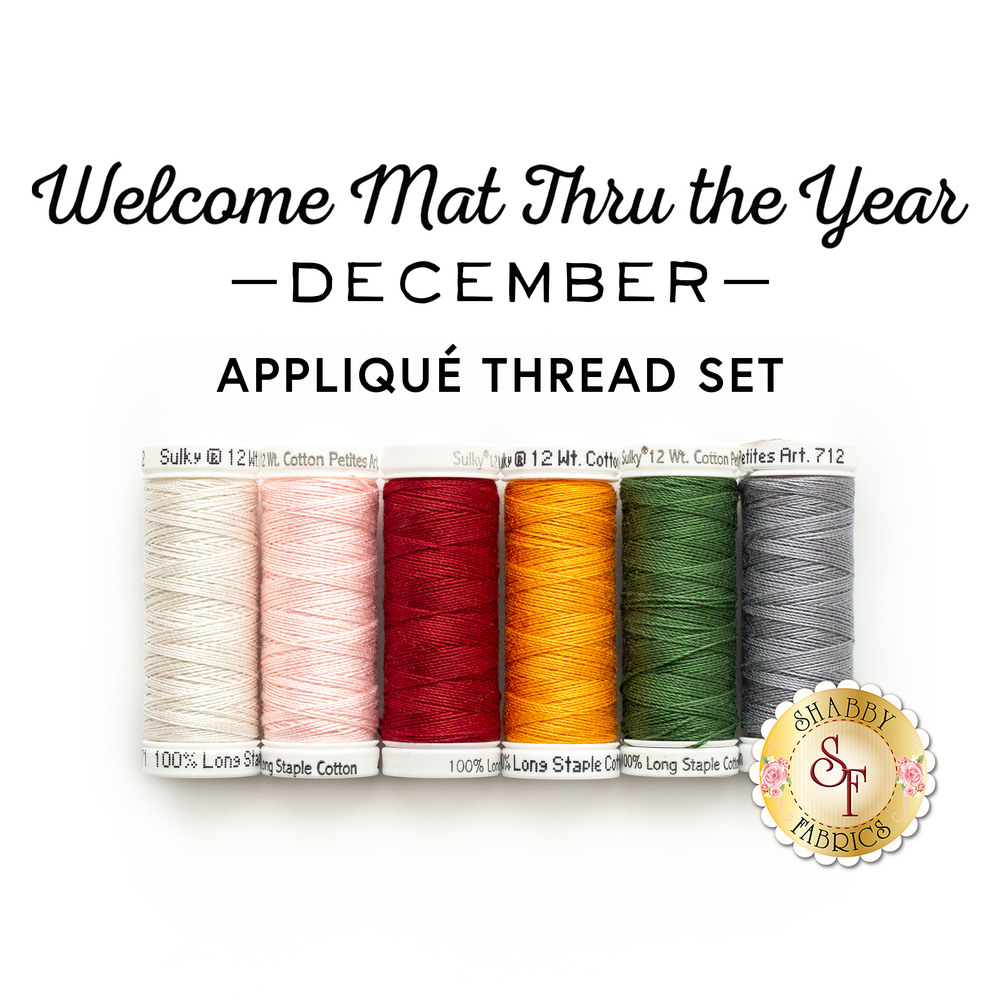 Welcome Mat Thru The Year Series - December Kit - 6pc Applique Thread Set