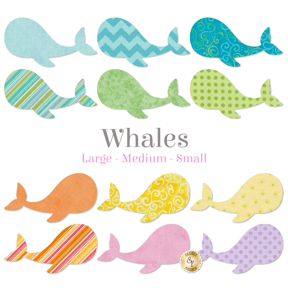 12 whale applique shapes in a variety of pastel colored print fabrics.