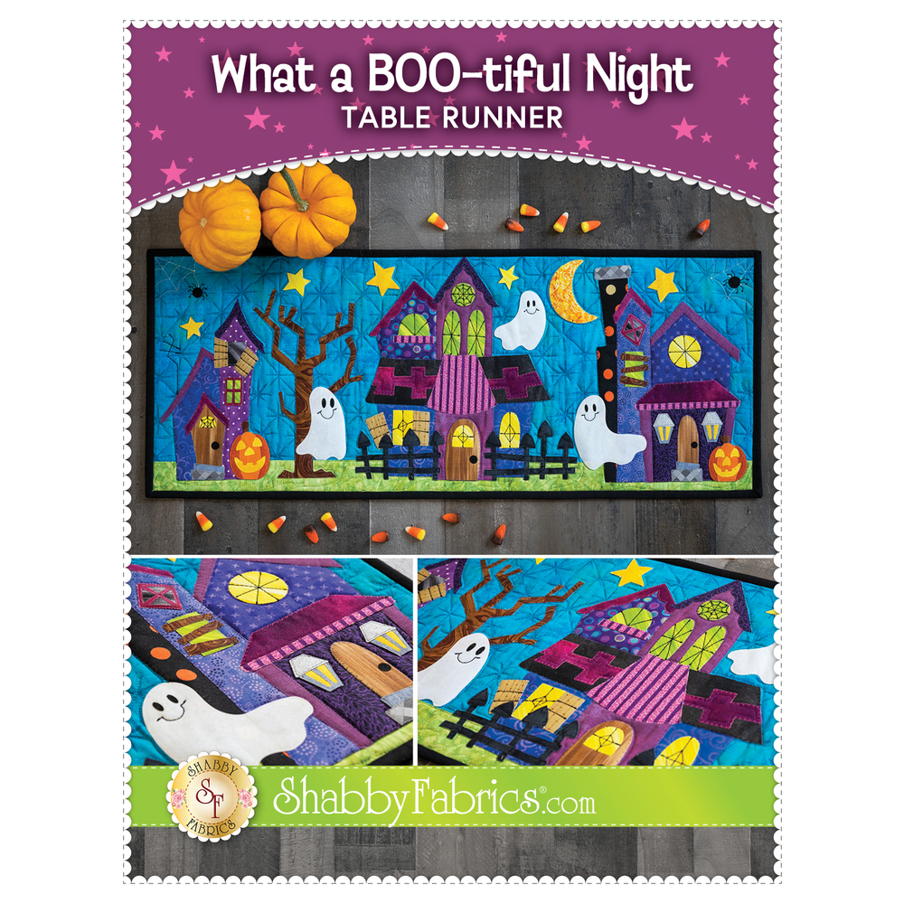 The front of the What A Boo-tiful Night Table Runner Pattern showing the table runner