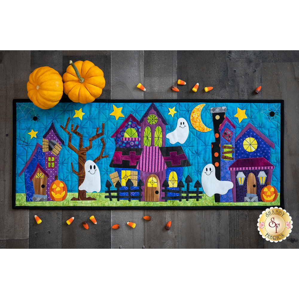 The What a Boo-tiful Night Table Runner displayed no a wood floor | Shabby Fabrics
