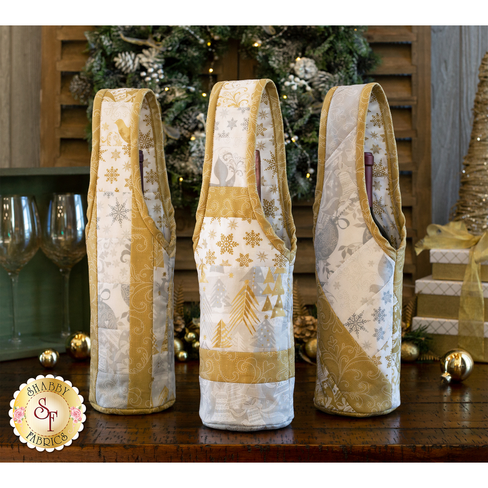 Quilt As You Go Wine Totes - Holiday Village | Shabby Fabrics