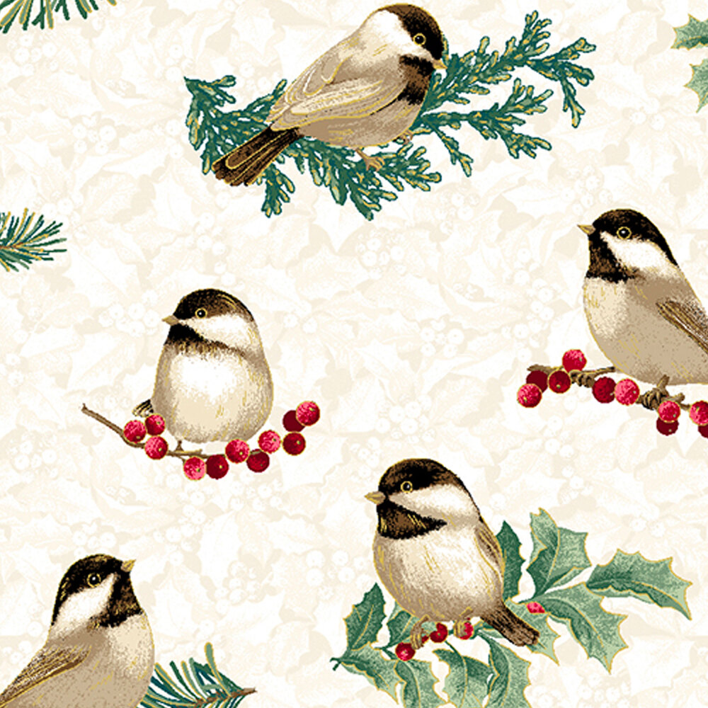 Chickadees and holly on a tan mottled background