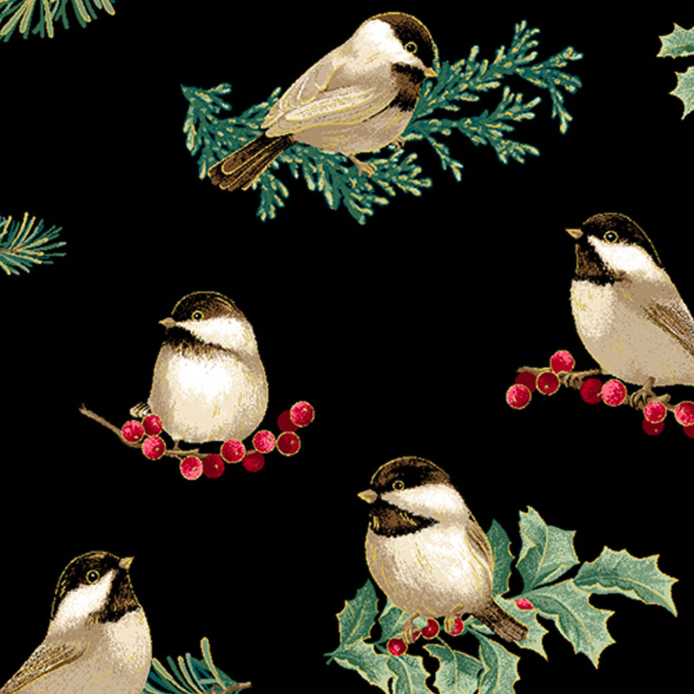 Chickadees and holly on a black background