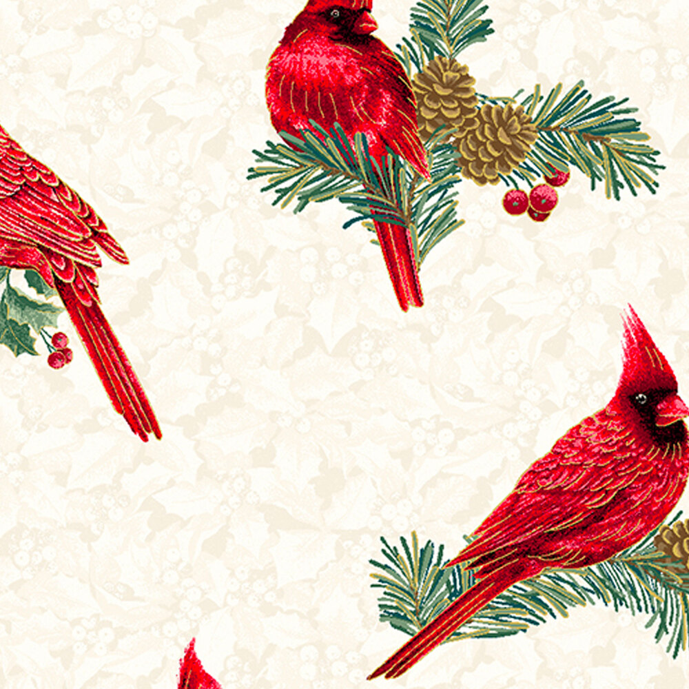 Beautiful red cardinals and green holly on a tan mottled background