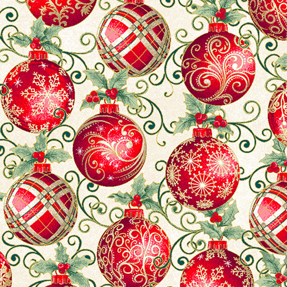 Elegant red ornaments with metallic accents on a cream background