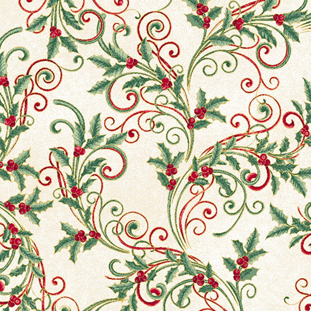 Red and green metallic scrolls with green holly and berries on a cream background