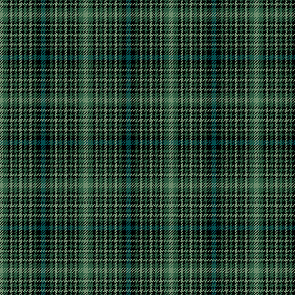 Green, blue, and black plaid fabric