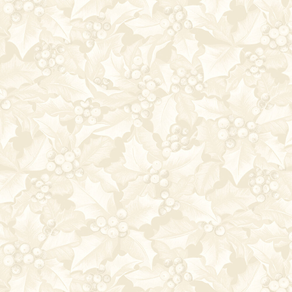 Cream tonal fabric with holly and berries all over