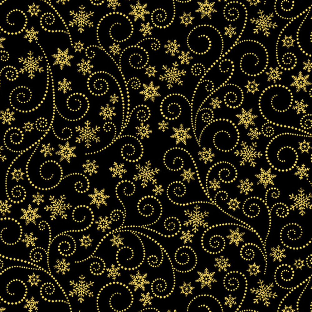 Metallic gold swirls and snowflakes on a black background