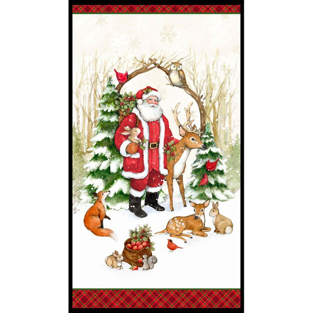 A Christmas panel with Santa Claus and winter animals
