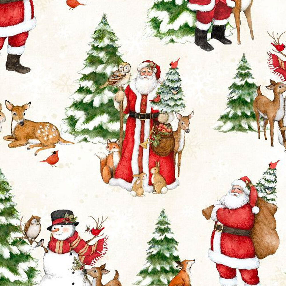 Scenes of Santa Claus and winter wildlife on a white background
