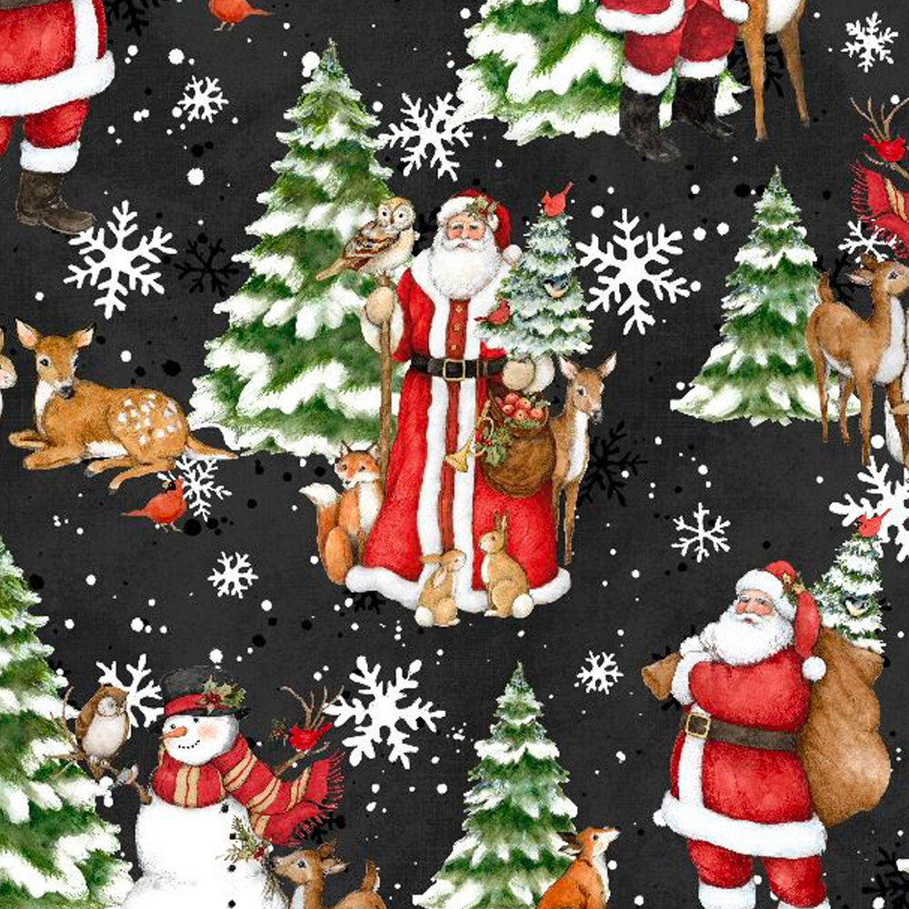 Scenes of Santa Claus and winter wildlife on a black background with white snowflakes