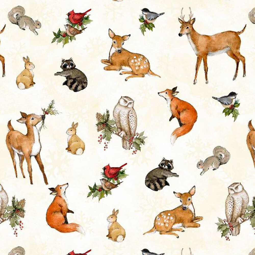 Winter animals tossed on a white background