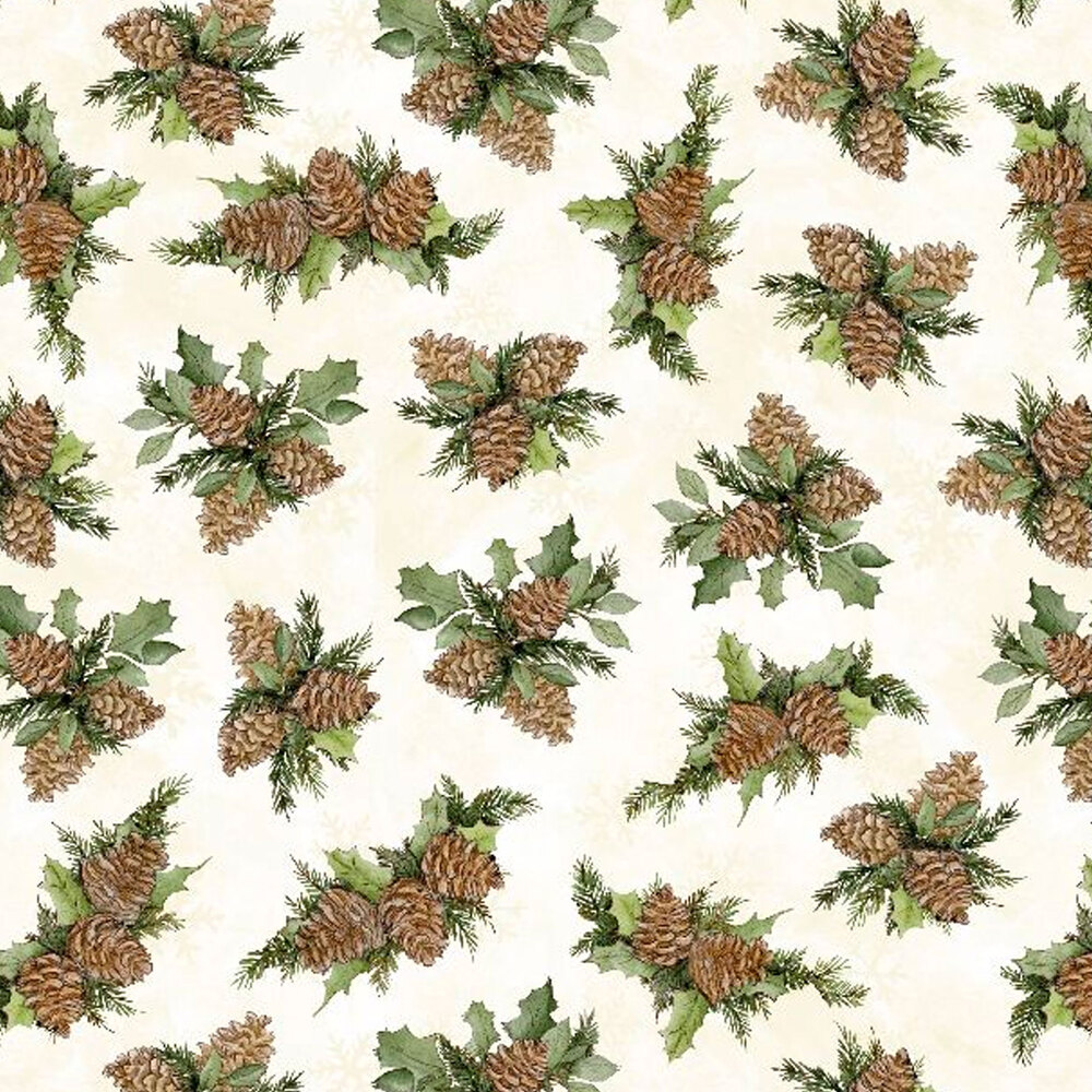 Tossed pine cones and holly leaves on a white background