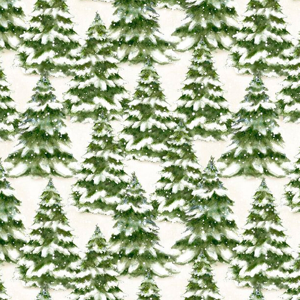 Snow covered pine trees all over a white background