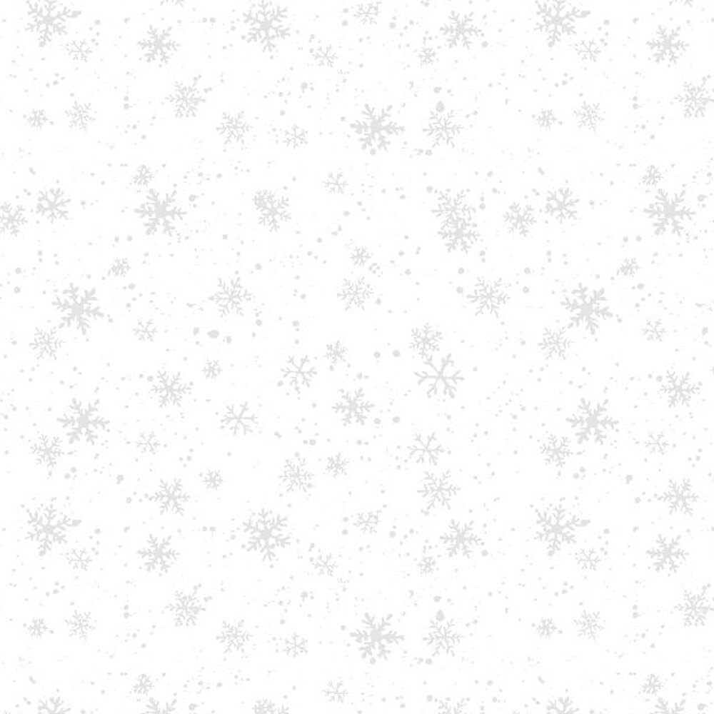 White on white fabric with tossed snowflakes