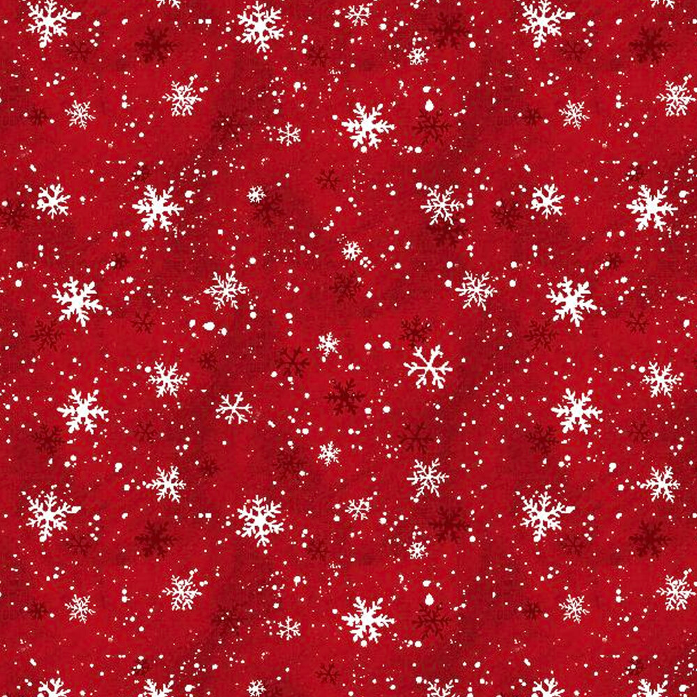 White snowflakes on a red mottled background