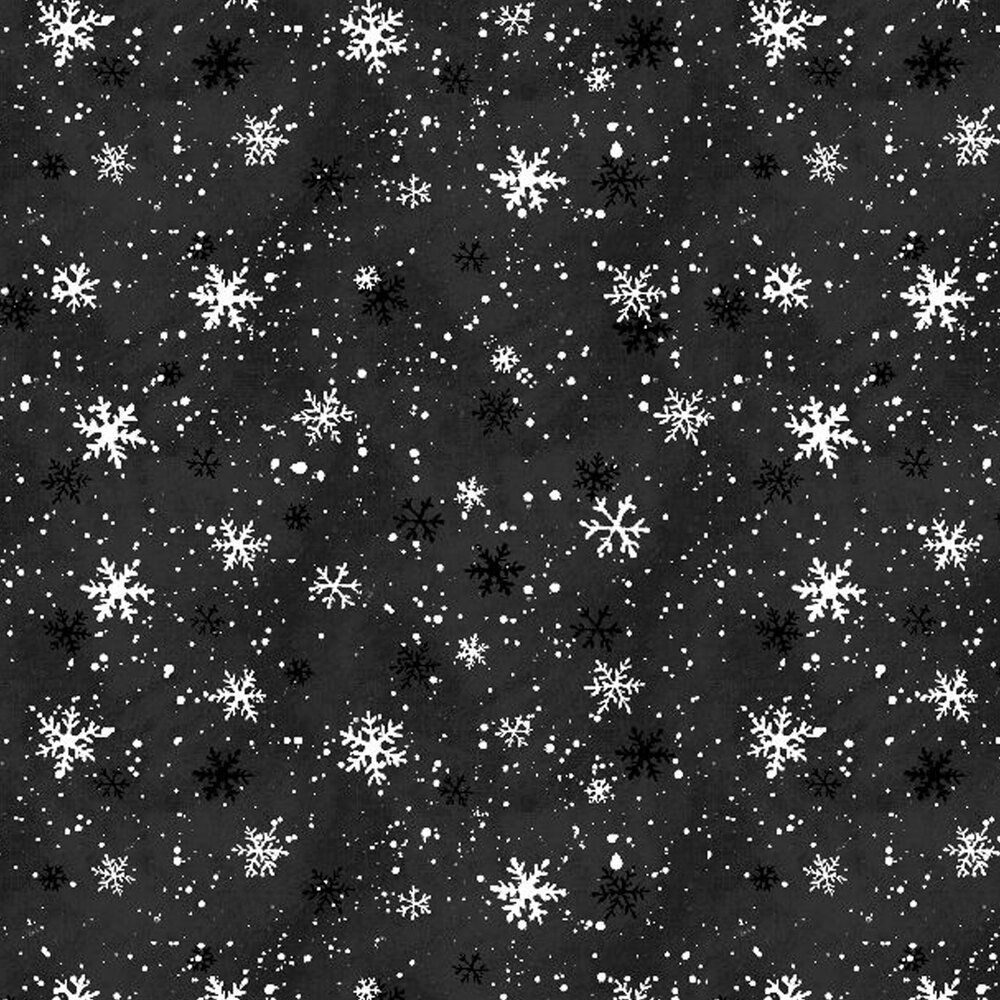 White snowflakes on a black mottled background
