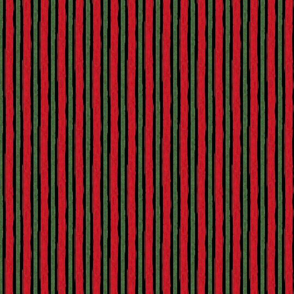 Red, black and green striped fabric