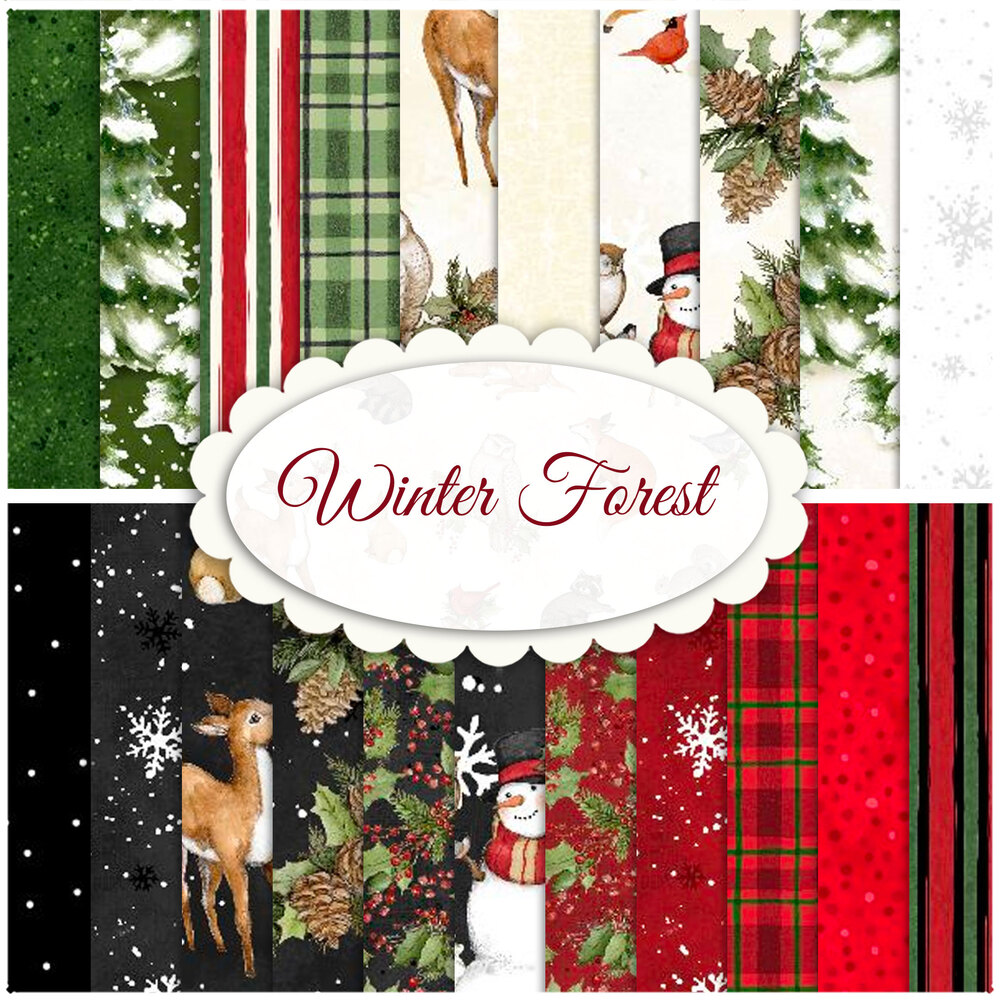 A collage of fabrics included in the Winter Forest collection