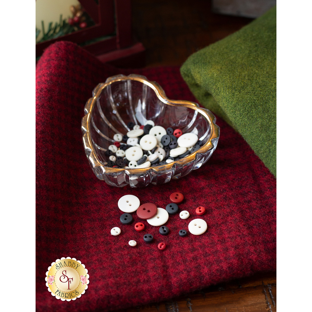 The beautiful 156pc Button Pack for the Winter Wonderland BOM | Shabby Fabrics