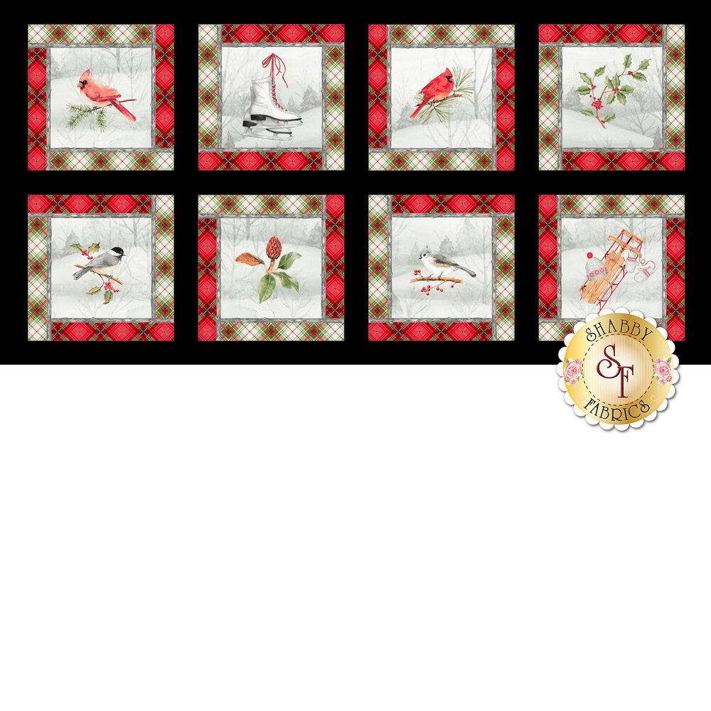 Panel fabric featuring winter birds and ice skates in plaid lined blocks | Shabby Fabrics