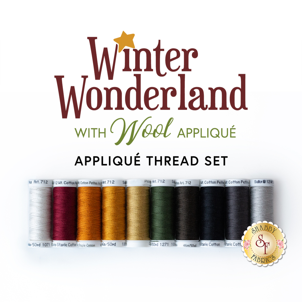 The coordinated 10pc thread set for the Winter Wonderland - Wool Applique BOM | Shabby Fabrics