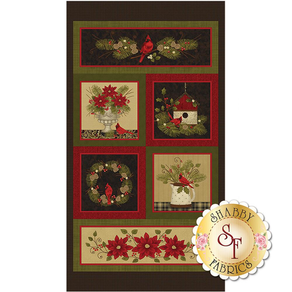 Winter panel featuring beautiful cardinals and winter motifs   Shabby Fabrics