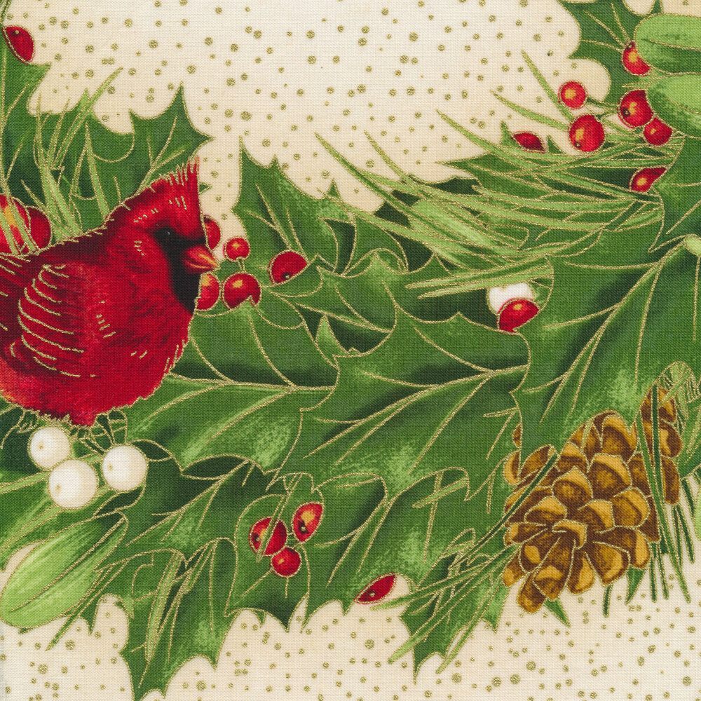 Holly leaf wreath with cardinals