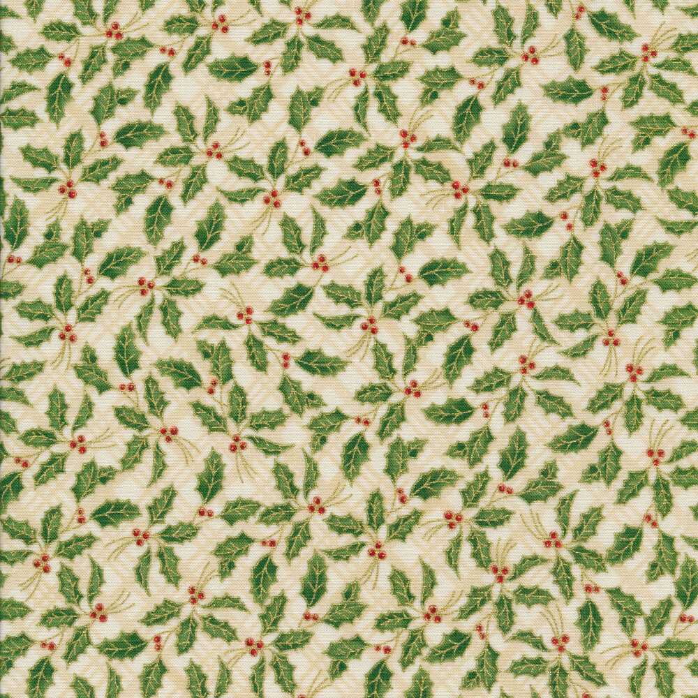 Metallic holly leaves on an ivory tonal plaid background