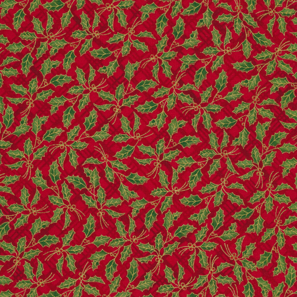 Metallic holly leaves on a red tonal plaid background