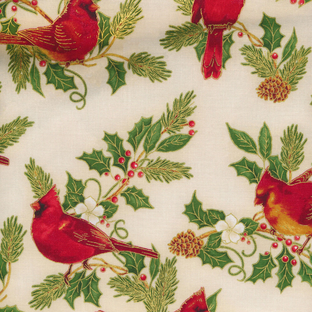 Cardinals and evergreen leaves on an ivory background