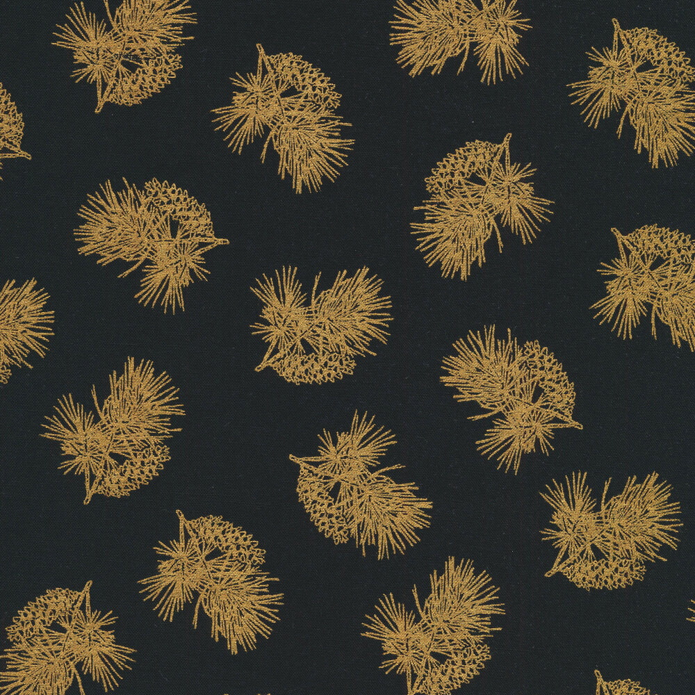Tossed metallic evergreen and pine cones on a black background