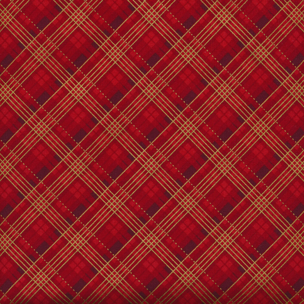 Tonal red plaid with metallic accents