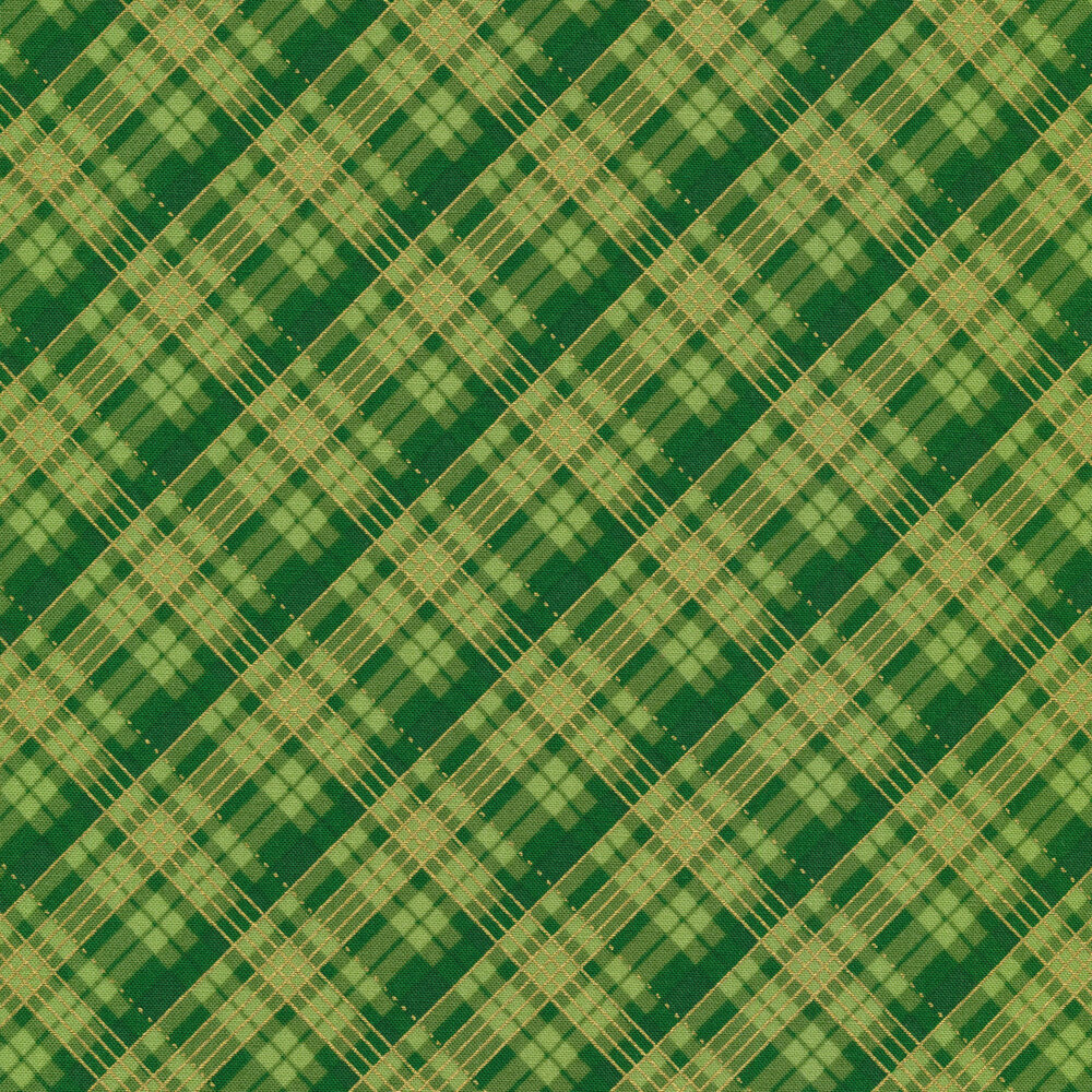 Tonal green plaid with metallic accents