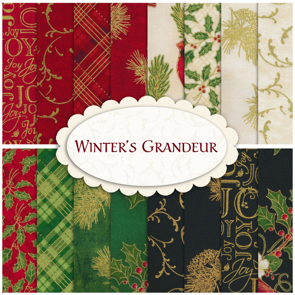 A collage of fabrics included in the Winter's Grandeur 9 collection