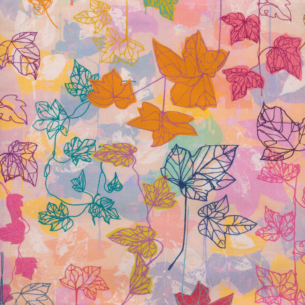 Colorful watercolor style fabric with colorful maple leaf outlines all over