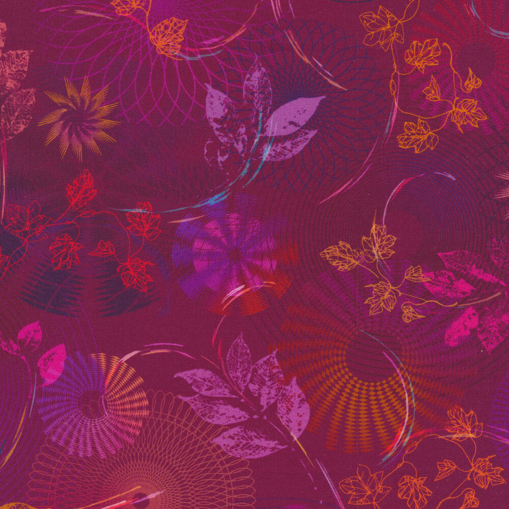 Swirls, scrolls, rings and fans with leaves and vines on a dark purple background